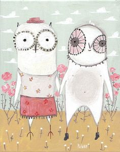 Owls Art Illustration Print - Couple Holding Hands - Shabby Chic Pale Pastels Mint Rose Pink Grey 8x10