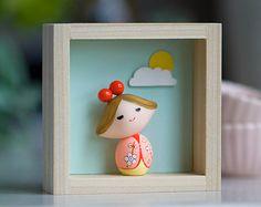 Polymer clay figurine, Polymer clay miniature doll, Kokeshi doll, OOAK doll,