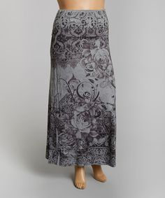 Take a look at the Poliana Plus Dark Gray Rose Collage Maxi Skirt - Plus on #zulily today!