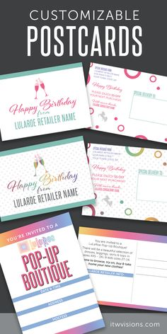 I love these lularoe happy birthday cards, they are a must have stationery item for lularoe fashion retailers.  These birthday postcard / notecards are a great way to send a thank you and a happy birthday message to your customers and also offer $5 off their next purchase.  This is a great way to show your appreciation for their business.
