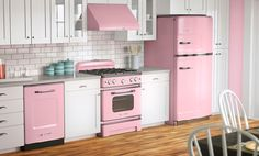 Kitchen Appliances, White Tile Kitchen Backsplash Under Wooden Kitchen Cabinet And Small Pink Kitchen Appliances Also Black Dining Table On Laminate Kitchen Flooring: The Choice Of Lovely Pink Kitchen Appliances Into Your Kitchen Area