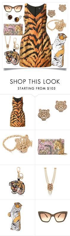 """""""Tiger Print Fitted Dress..**"""" by yagna ❤ liked on Polyvore featuring Paule Ka, Kenzo, Gucci, Lucia Odescalchi, Silken Favours, Prism, Brooks Brothers and vintage"""