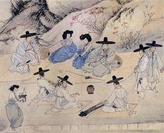 Shin Yun Bok / Hyewon : An amusing day in a spring field 상춘야흥 (賞春野興) 1805 Korean Traditional, Traditional Art, Korean Picture, Asian Artwork, Korean Painting, Korean Art, Traditional Paintings, Chinese Art, Art World