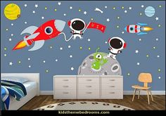 Image result for one wall in kids room painted navy blue with stars and space ship