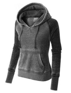 PREMIUM Womens Lightweight Athletic Burnout Pullover Hoodie
