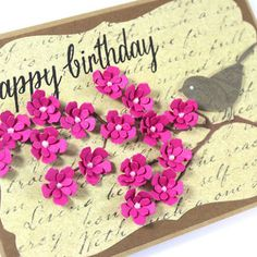 Birthday Card - Handmade Card - Pink flowers - Bird Card