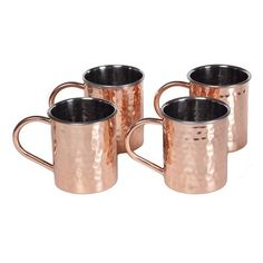 Tall Hammered Polished Handmade Copper Mugs (Set of 4)