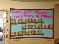 "Could also read ""Hoot, Hoot, Hooray! Owl Bulletin Boards, Back To School Bulletin Boards, Preschool Bulletin Boards, Preschool Classroom, Bullentin Boards, September Preschool, Fall Preschool, Preschool Crafts, Preschool Ideas"