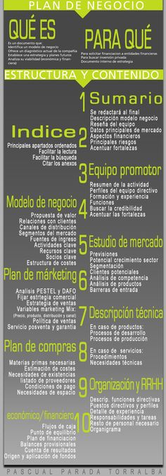 #TopInfografía. Plan de Negocio. Estructura y Contenido. #Infografía. Español.