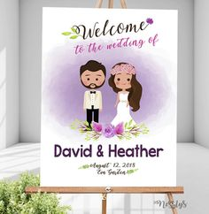 Boho Purple Wedding Welcome Sign. Perfect for both indoor and outdoor. Can be displayed on rustic themed too. Wedding Welcome Signs, Wedding Signs, Wedding Invitation Video, Wedding Invitations, Eva Garden, Couple Cartoon, Wedding Book, Purple Wedding, Creative Art