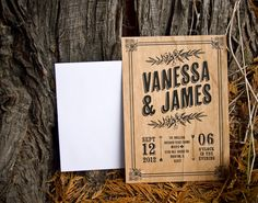 This Real Wood Invitation Set is more interesting for at the actual event. I think I would like the printed wooden signs. | Cherry Wood - Vintage Poster Style Rustic Wedding