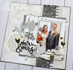Simple Stories Always & Forever collection Scrapbook Designs, Scrapbook Page Layouts, Scrapbook Supplies, Couple Scrapbook, Wedding Scrapbook Pages, Simple Stories, Photo Album Scrapbooking, Scrapbook Albums, Wedding Book