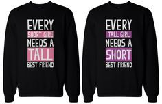 The designs are simple, cute, and totally suitable for any BFF! Matching Sweatshirts for Best Friends. - Order includes TWO sweatshirts for friend 1 & friend - Unique matching sweatshirts for best friends. Bff Shirts, Friends Sweatshirt, Cute Shirts, Funny Shirts, Bff Sweatshirts, Best Friend Outfits, Best Friend Shirts, Best Friend Goals, Best Friend Quotes