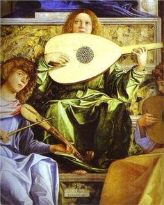 The San Giobbe Altarpiece Detail of Music Making Angels  - Giovanni Bellini
