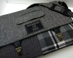 "Mens 15"" laptop Messenger Bag , 15""  Macbook Pro Laptop Sleeve, tote bag, Trunk Latch,Recycled Suit Coat,  Upcycled bag"
