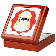 White Weddguin Keepsake Box #Penguin #Valentine #Love #ValentinesDay #Kawaii #Romance #Cute #Wedding #WhiteWedding #Gift #Present #HenNight #Lace #Roses #CafePress #Bride #Bridal #Romantic