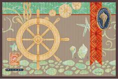 Bamboo Floor Mat - Nautica Cote D'azu Beach Decor | Nautical Decor | Tropical Decor | Coastal Decor