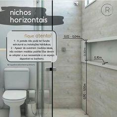 """Eu Te Inspiro - Arquitetura no Instagram: """"Esta em dúvida da altura do nicho do banheiro? 🧐 ...... Dúvida resolvida 😉 ⠀ ⠀ Autoria: @raquelcavalcantearquitetura Confira também:…"""" Bathroom Niche, Bathroom Wallpaper, Bathroom Layout, Bathroom Shower Curtains, Small Bathroom, Bathroom Pink, Contemporary Bathrooms, Modern Bathroom Design, Bathroom Interior Design"""