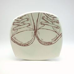 Small squared porcelain sandwich plate with  pale green celadon glaze and all star sneakers by Emily Murphy Pottery on Etsy