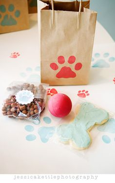 Puppy party - ball,puppy eatable bone cookie,and in clear bag-puppy food!! How cute!!