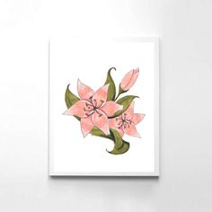 Pink Flower Print// Lily Print//Pink Floral Print//Hand Painted Print//Watercolor Flowers//Lily Flower//Floral Art//Downloadable Art