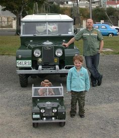 Abby Hayes (4) with her Land Rover Series 1 and her father, Ross, with his full-sized version at the All British Car Day in Oamaru last Saturday. Photo by David Bruce.