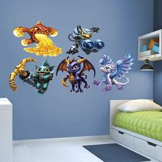 Skylanders Core Collection REAL.BIG. Fathead – Peel & Stick Wall Graphic | Skylander Wall Decal | Kids Decor | Bedroom/Playroom