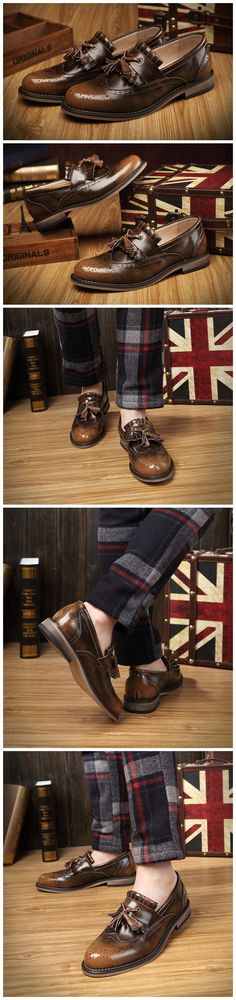 Tassel Vintage Oxfords Men Leather Shoes Casual Business Shoes Slip On Breathable Men Shoes-in Oxfords from Shoes on Aliexpress.com   Alibaba Group