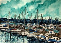 Modern Art Watercolor, Acrylic, and Oil Paintings: Painting of boats Marina Melbourne Florida