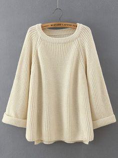 Jersey cuello redondo manga larga suelto-(Sheinside)