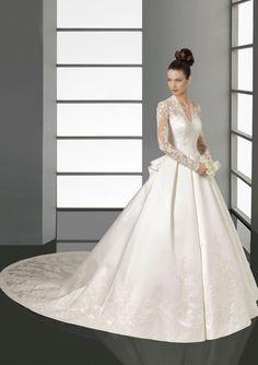Attractive A-Line/Princess V-neck Chapel Train Organza Satin Wedding Dresses With Ruffle Beadwork