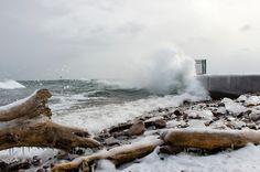 Icy Impact at the Presque Isle Breakwater Break Wall, Lake Superior, Winter Scenes, Nature Photos, Niagara Falls, Fireworks, Michigan, Waves, The Incredibles