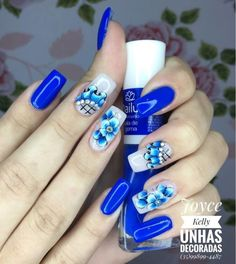 39 Fotos de Unhas com Flores e Joias Pedicure Nails, Manicure, Blue Nails, Nail Designs, Nail Art, Thor, Beauty, Elegant Nails, Art Nails
