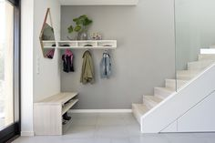 Modern scandinavian home entrance. The stairs and furnitures are mede of ash with a clever storage system under the stairs. Design and photo: Hilde Lillejord Storage, Scandinavian Home, House Entrance, Island Drawers, Furniture, New Homes, Home Decor, Architectural Pieces, Home Staging