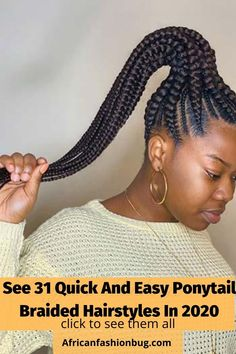 Braided Ponytail Hairstyles, Braided Hairstyles For Black Women, Braids For Black Women, Braids For Black Hair, Quick Braid Styles, Quick Braids, Simple Ponytails, Types Of Braids, Pretty Cool