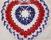 patriotic doily fourth of JULY heart handmade red white blue memorial USA  gift decor