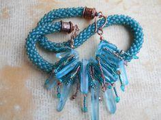 Bohemian Copper and Aqua Bead Crochet Necklace by TerebellumStudio