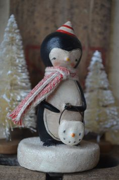 Winter Penguin Snowman Pail Folk Art Paperclay by apinchofprim, $40.00