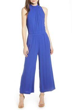 Women's Ruffle Neck Jumpsuit, Size X-Large - Blue Palazzo Pants, Denim Pants, Ruffles, Nordstrom, Rompers, Coat, How To Wear, Clothes, Dresses