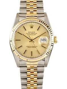 Rolex Datejust Champagne Index Dial Jubilee Bracelet Two Tone Mens Watch 16233