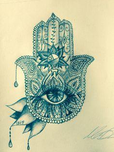 Hamsa #hamsa #drawing Hasma Tattoo, Hamsa Hand Tattoo, Hamsa Art, Mandala Tattoo, Dream Tattoos, Love Tattoos, Future Tattoos, New Tattoos, Hand Tattoos