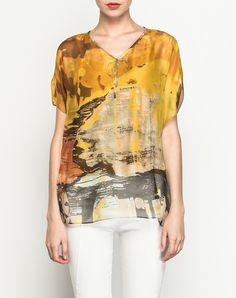 #AdoreWe #VIPme Blouses & Shirts - SAINTY Yellow Silk V Neck Abstract Printed Elegant Blouse - AdoreWe.com