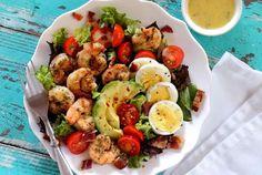 Paleo Shrimp Cobb Salad with Garlic Vinaigrette #justeatrealfood #paleonewbie