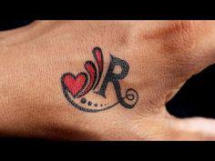 Alphabet Tattoo Designs, Name Tattoo Designs, Tribal Tattoos, Hand Tattoos, Letter R Tattoo, R Letter Design, Tattoo Lettering Design, Love Birthday Quotes, Shiva Tattoo Design