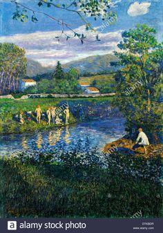 Dario de Regoyos, Bathing in Renteria 1900 Oil on canvas. Bilbao Fine Arts Museum, Bilbao, Spain.
