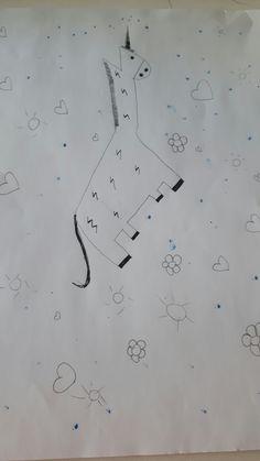 Dit is Hoe mijn achtergrond wordt. De eenhoorn is met bliksem en veel zwart en uit zijn hoorn spuiten glitters, hartjes etc. Allemaal vrolijkheid.