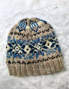 9d56a95a Rustic Shetland WOOL Beanie, vintage style fair isle hat, beautiful heather  wool from Scotland, one of a kind, blue, natural,loopsnswoops