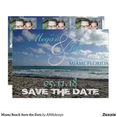 Save the Date Beach Postcard from South Beach Miami, Florida. Perfect for a destination or local coastal wedding! Beach Invitations, Disney Invitations, Save The Date Invitations, Save The Date Postcards, Elegant Wedding Invitations, Save The Date Cards, Invites, Wedding Favors, Wedding Ideas