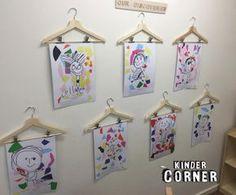 Clip Hangers for Art (from Kinder Corner via Instagram: https://www.instagram.com/p/BREk8qkjuVS/?taken-by=kinder.corner)