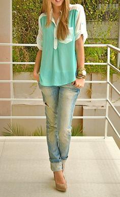 Pastels + boyfriend jeans.